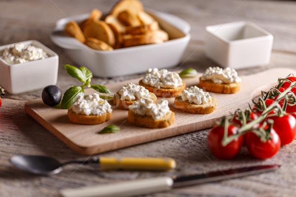 Cottage cheese volkoren ontbijt voedsel kaas Stockfoto © grafvision