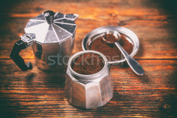 Ground coffee and moka pot Stock photo © grafvision