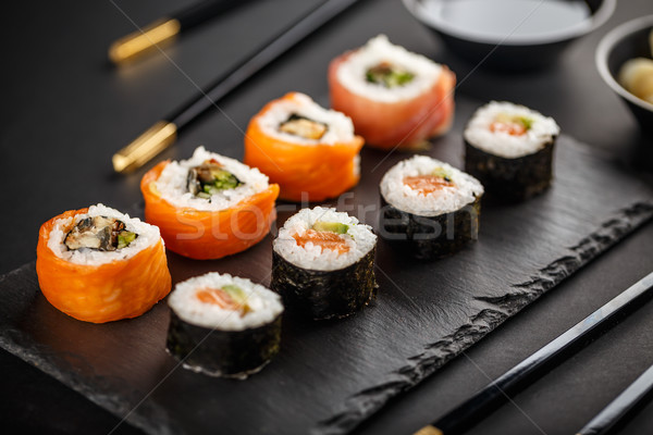 Stock photo: Delicious sushi rolls