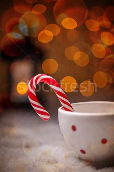 Stockfoto: Christmas · snoep · riet · stippel