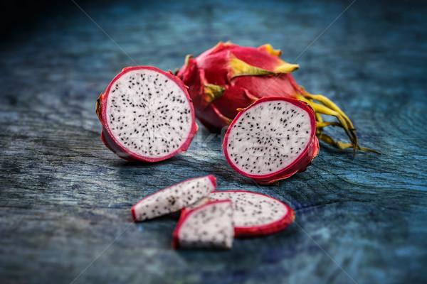 Fatia dragão fruto azul comida Foto stock © grafvision
