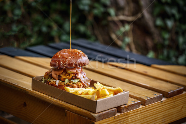 Stockfoto: Gegrild · rundvlees · hamburger · street · food · frietjes · voedsel