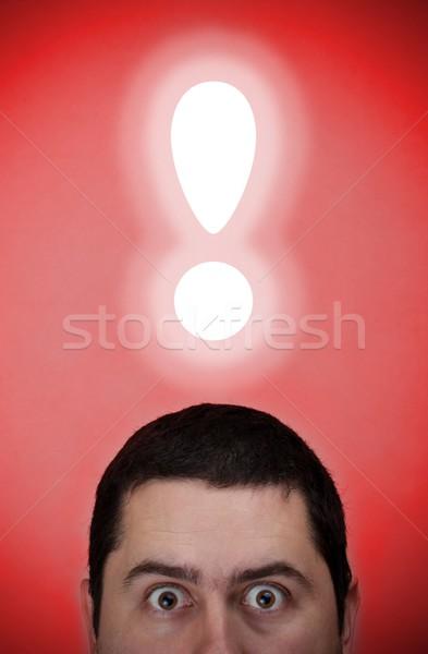 Férfi felkiáltójel fej közelkép kép férfi Stock fotó © grafvision
