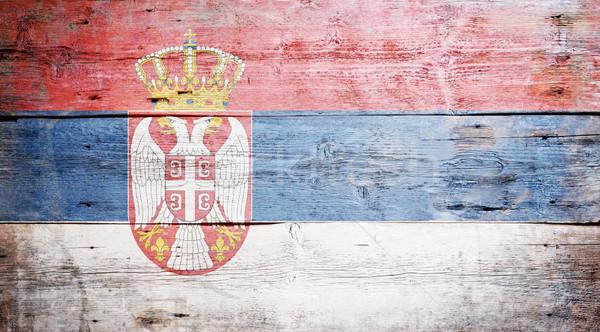 Bayrak Sırbistan boyalı ahşap Stok fotoğraf © grafvision