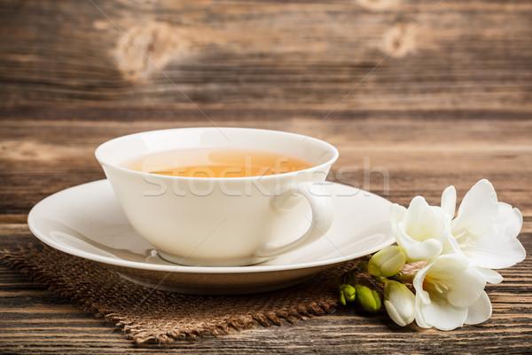 Csésze teáscsésze tea rusztikus fából készült textúra Stock fotó © grafvision