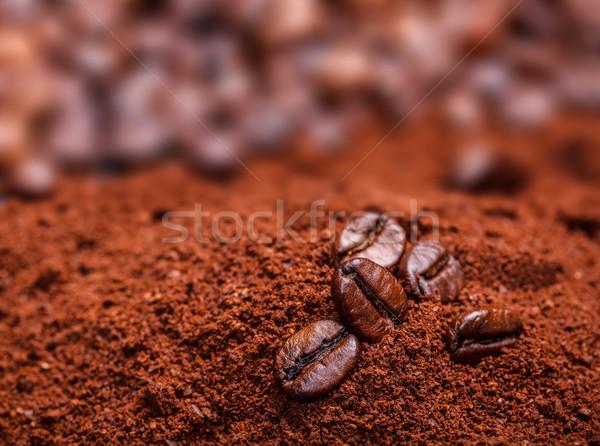 Grain de café café poudre alimentaire sombre Photo stock © grafvision