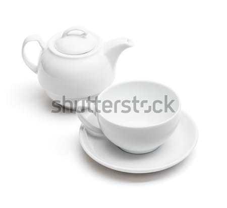 Teáscsésze teáskanna fehér csésze edény üres Stock fotó © grafvision