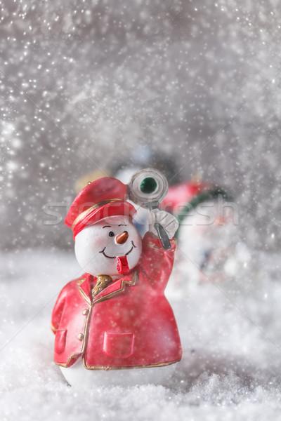 Noel heykelcik kardan adam kar arka plan kış Stok fotoğraf © grafvision