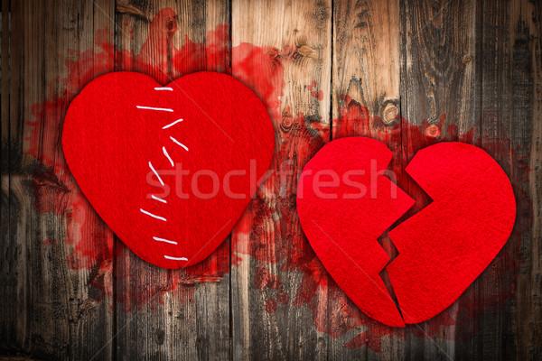 Tekstil kalp kesmek doku Stok fotoğraf © grafvision