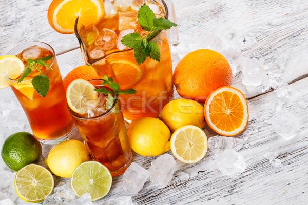Buzlu çay limon nane meyve cam Stok fotoğraf © grafvision