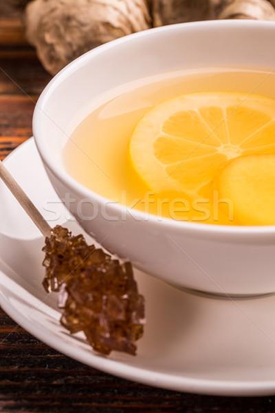 Fincan çay esmer şeker sopa şeker Stok fotoğraf © grafvision