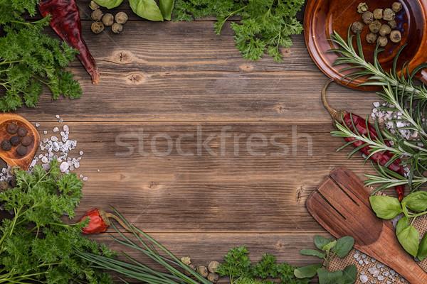 Stock foto: Frisch · Kräuter · Rahmen · Holz · Holz · Blatt