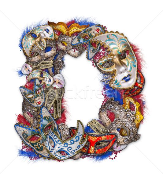 D betű karnevál maszk toll buli háttér Stock fotó © grafvision