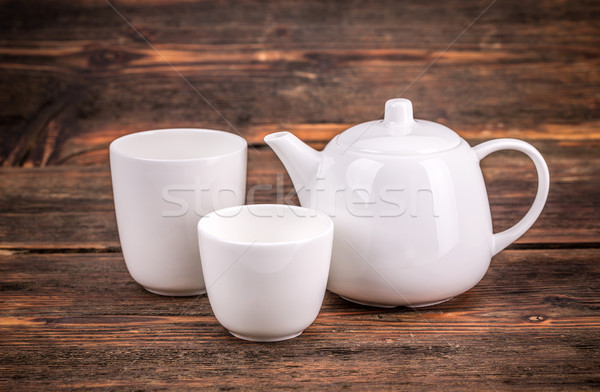 Witte porselein thee ingesteld houten beker Stockfoto © grafvision