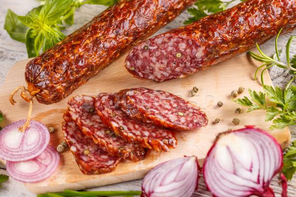 Szeletek szalámi kolbász zöld hús bors Stock fotó © grafvision