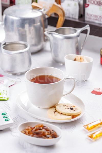 чай печенье белый керамической Кубок блюдце Сток-фото © grafvision