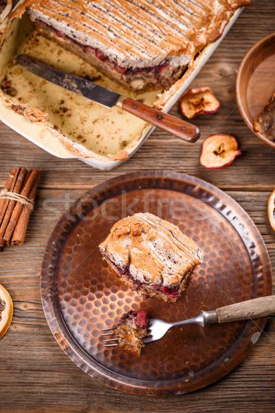 Domowej roboty chleba pudding rustykalny tabeli Zdjęcia stock © grafvision