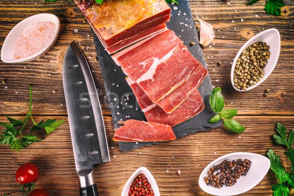 Dilim prosciutto otlar baharatlar gıda jambon Stok fotoğraf © grafvision