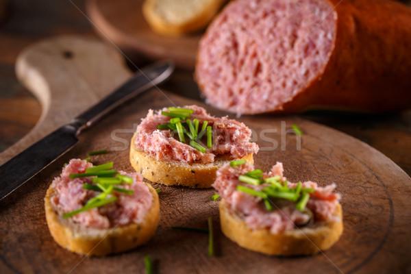 Santoreggia affumicato salsiccia pancetta carne di maiale pane Foto d'archivio © grafvision
