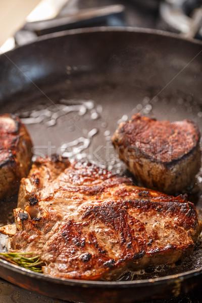 Lédús grillezett steak serpenyő étel étterem Stock fotó © grafvision
