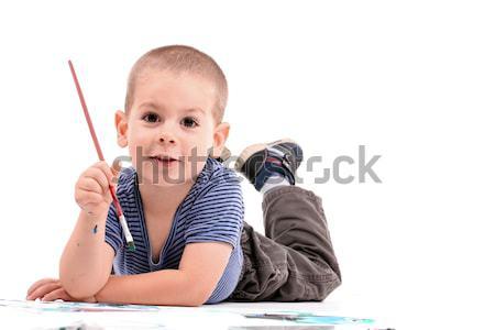 少年 絵画 白 紙 ホーム ストックフォト © grafvision