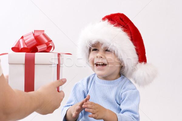 赤ちゃん サンタクロース 帽子 着用 見える ギフト ストックフォト © grafvision
