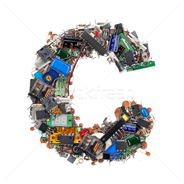 C betű elektronikus alkotóelemek izolált fehér technológia Stock fotó © grafvision