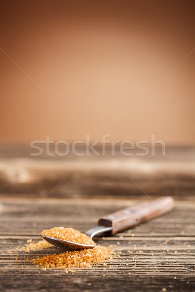 スプーン ブラウンシュガー 素朴な 木板 ボード 甘い ストックフォト © grafvision