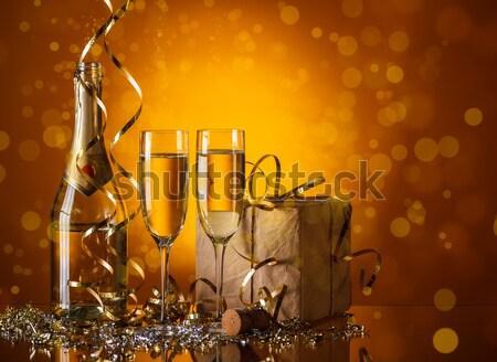 Foto stock: Dos · champán · gafas · listo · año · nuevo · fiesta
