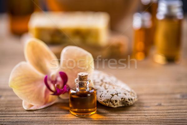 Illóolaj aromaterápia kezelés gyógyszer fürdő törődés Stock fotó © grafvision