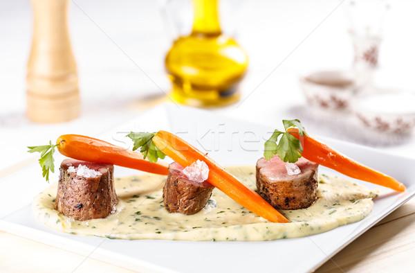 Изысканные ужины свинина мяса морковь продовольствие Сток-фото © grafvision