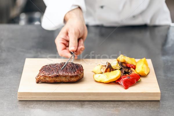 ストックフォト: シェフ · 務め · 焼き · 野菜 · 木板