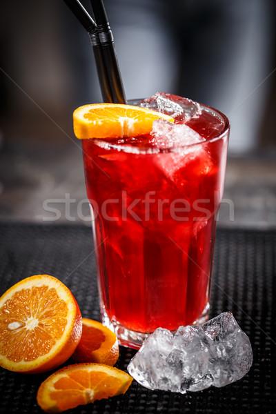 Vermelho soda beber ice cube decorado Foto stock © grafvision