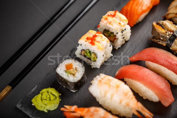 Different kinds of sushi roll Stock photo © grafvision