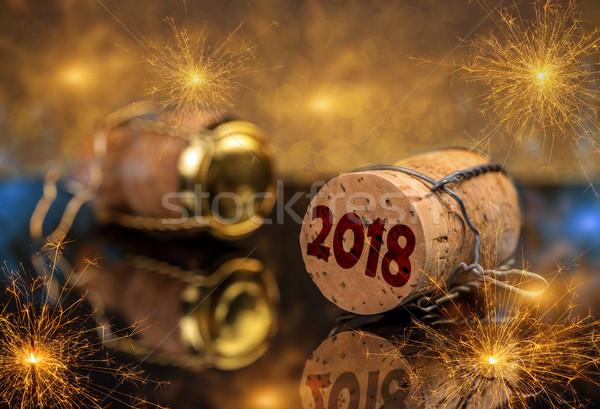 Ano novo champanhe cortiça metal arame celebração Foto stock © grafvision