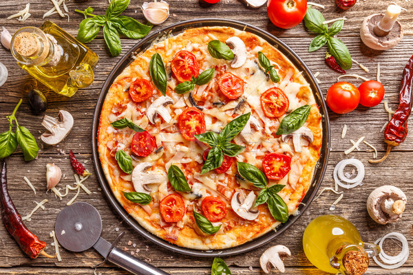 Flat lay with Italian pizza Stock photo © grafvision