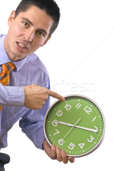 Az idő pénz üzletember mérges nem idő izolált Stock fotó © grafvision