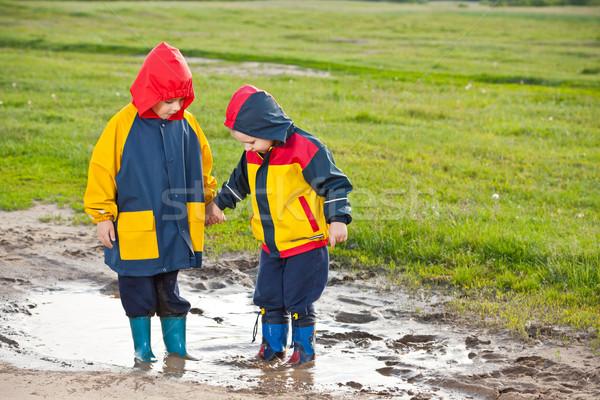 мальчики лужа два молодые братья , держась за руки Сток-фото © grafvision