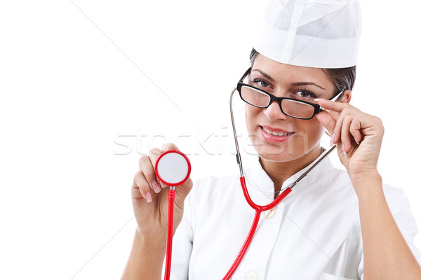 Stock photo: portrait of a young woman doctor