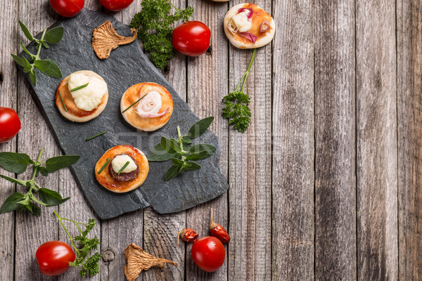 ミニ ピザ 自家製 スペース 食品 木材 ストックフォト © grafvision