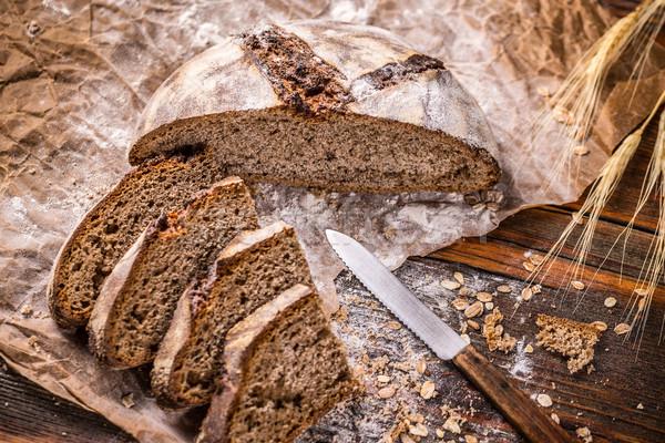 Rozs kenyér darabok fa vidék gabona Stock fotó © grafvision