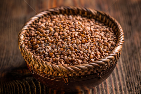 Buckwheat seeds in bowl Stock photo © grafvision