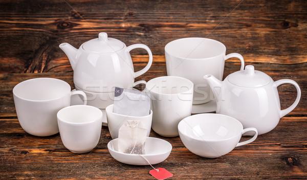 Witte porselein thee ingesteld houten koffie Stockfoto © grafvision