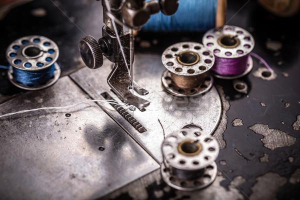 Szczegół maszyny do szycia szycia metal fabryki Zdjęcia stock © grafvision
