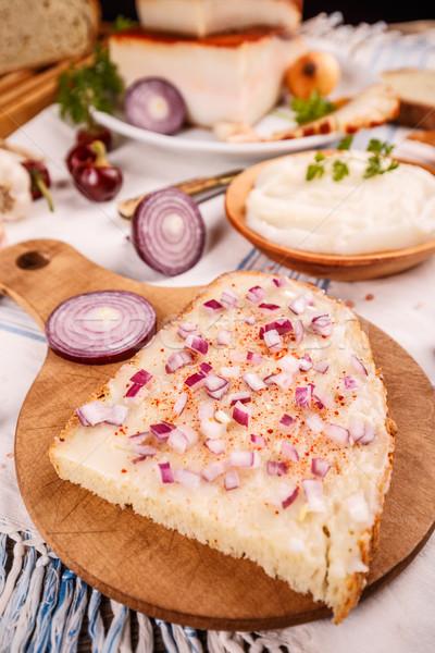 Bread slice with lard Stock photo © grafvision