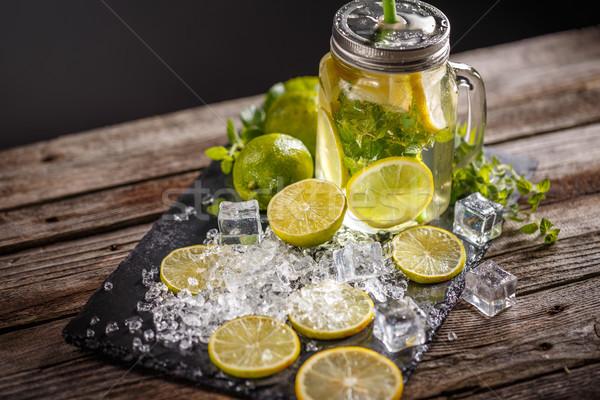 Jar Glas hausgemachte Limonade rustikal Holz Stock foto © grafvision