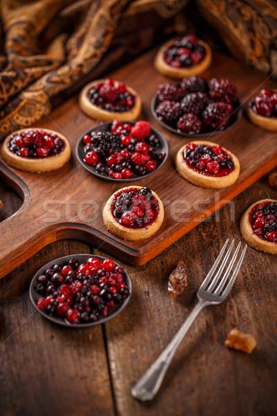 Delicious berry fruits mini tarts Stock photo © grafvision