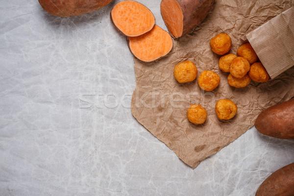 Zoete aardappel voedsel kaas bal plaat Stockfoto © grafvision