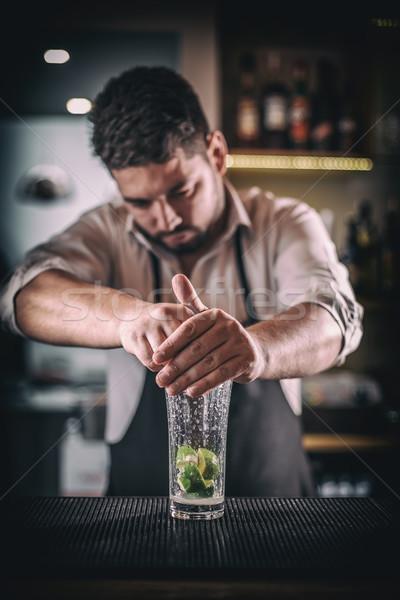 бармен свежие извести сока вкусный Сток-фото © grafvision