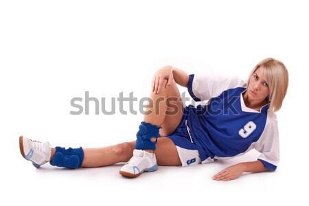Balonmano jugador femenino utilizado pelota Foto stock © grafvision